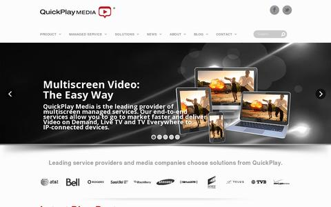 Screenshot of Home Page quickplay.com - Multiscreen Video: The Easy Way - captured July 17, 2014