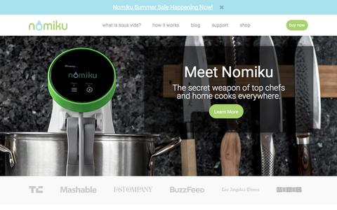 Screenshot of Home Page nomiku.com - Sous Vide at Home with Nomiku - captured July 2, 2017