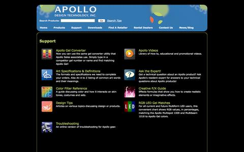 Screenshot of Support Page apollodesign.net - Apollo Design | Technical Support - captured Oct. 4, 2014