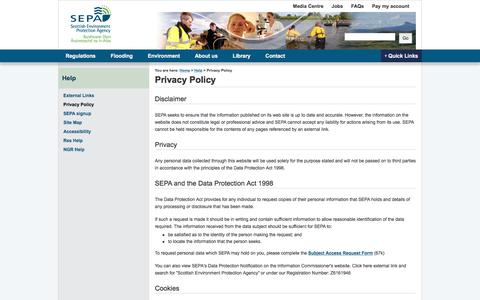 Screenshot of Privacy Page sepa.org.uk - Privacy Policy | Scottish Environment Protection Agency (SEPA) - captured June 28, 2017