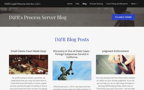 Screenshot of Blog drlegalprocess.com - Process Serving Information - D&R Legal Process Service, LLC. | D&R Legal Process Service, LLC. - captured Sept. 30, 2018