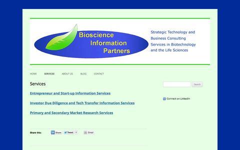 Screenshot of Services Page biosciinfo.com - Services | Bioscience Information Partners (BIP) - captured Oct. 5, 2014