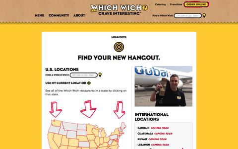 Screenshot of Locations Page whichwich.com - Which Wich | Crave Interesting | Sandwich Shop - captured Sept. 22, 2014
