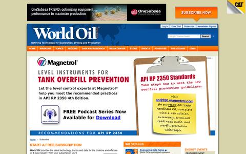 Screenshot of Trial Page worldoil.com - Try a Free Trial to World Oil Magazine: Access leading upstream news, articles and data - captured Oct. 26, 2014