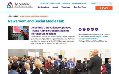 Screenshot of Press Page ascentria.org - Ascentria Care Alliance - Newsroom and Social Media Hub - captured Oct. 21, 2018