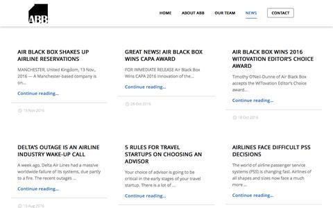 Screenshot of Press Page airblackbox.com - News – Air Black Box – Air Bookings Reinvented - captured Nov. 20, 2016