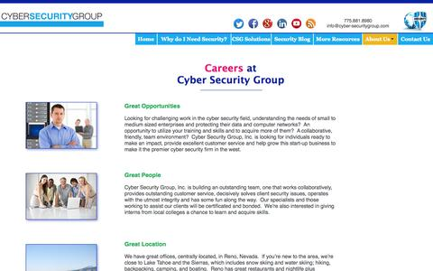 Screenshot of Jobs Page cyber-securitygroup.com - About Us | Careers - captured Oct. 1, 2014