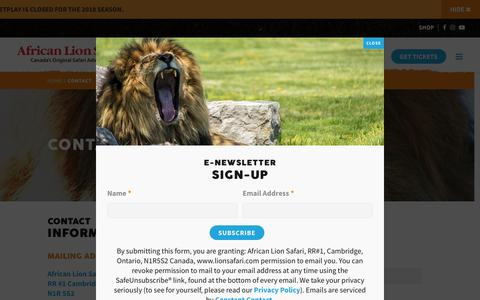 Screenshot of Contact Page lionsafari.com - Contact | African Lion Safari - Cambridge Ontario - captured Sept. 22, 2018