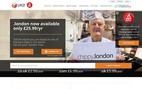 Screenshot of Home Page uk2.net - UK Web Hosting, Domains & Cloud Service| UK2™ - captured Sept. 18, 2014