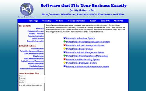 Screenshot of Products Page perfectcircle.com - Perfect Circle Solutions - Products - captured Oct. 2, 2014