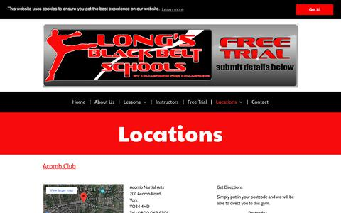Screenshot of Locations Page longsblackbeltschools.co.uk - Martial Arts School Locations | York, Haxby, Heworth, Copmanthorpe, Wetherby, Selby and Tadcaster | Karate, Kickboxing &  Fitness | Long's Black Belt Schools - captured June 28, 2018