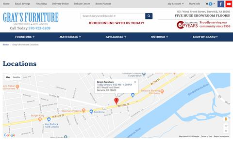 Screenshot of Contact Page Locations Page grayfurniture.com - Furniture, Mattress, and Appliance in Berwick, Bloomsburg and Danville PA | Gray's Furniture - captured Sept. 29, 2018