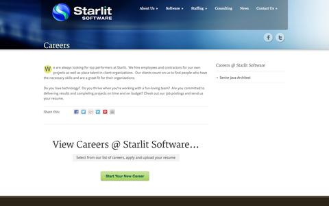 Screenshot of Jobs Page starlitsoftware.com - Careers » Starlit Software - captured Oct. 7, 2014