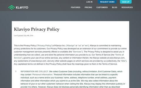 Privacy Policy - Klaviyo