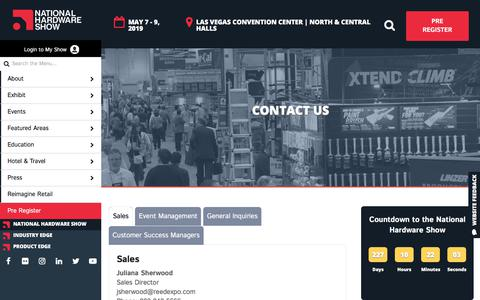 Screenshot of Contact Page nationalhardwareshow.com - Contact Us - NationalHardwareShow - captured Sept. 21, 2018