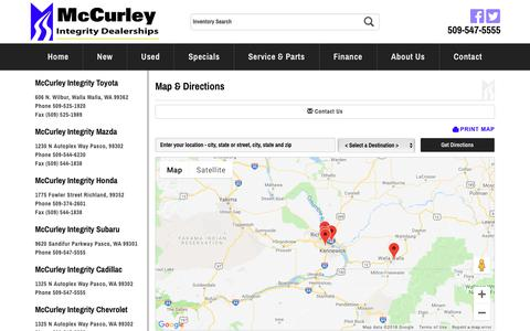 Screenshot of Contact Page Maps & Directions Page billmccurley.com - McCurley Integrity Dealerships | Cadillac, Chevrolet, Honda, Mazda, Mercedes-Benz, Sprinter & Subaru Dealer | Pasco, Washington - captured Oct. 17, 2018