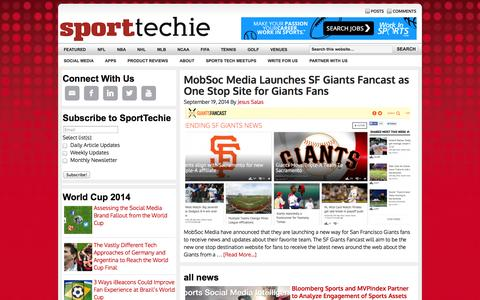 Screenshot of Home Page sporttechie.com - SportTechie — Sports Technology News - captured Sept. 22, 2014
