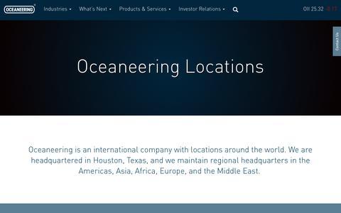 Screenshot of Locations Page oceaneering.com - Locations | Oceaneering : Oceaneering - captured Oct. 10, 2017