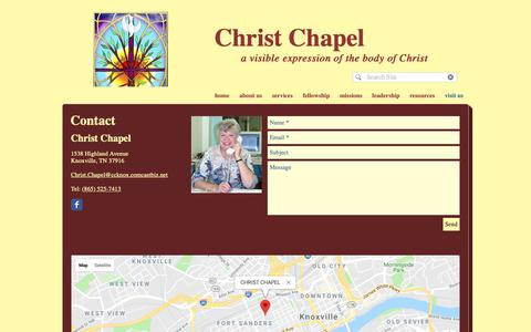 Screenshot of Contact Page Maps & Directions Page christchapelknox.org - christchapelknox | visit us - captured Oct. 26, 2018