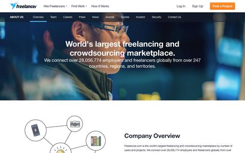 Screenshot of About Page freelancer.com - Freelancer | About Freelancer: Company Overview & History - captured April 24, 2018
