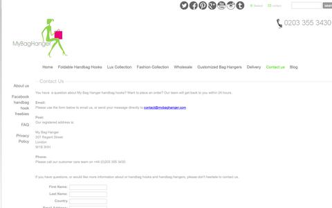 Screenshot of Contact Page mybaghanger.com - Contact us - Handbag Hook | Handbag Hanger | Bag Holder | Purse Hook - captured Oct. 1, 2018
