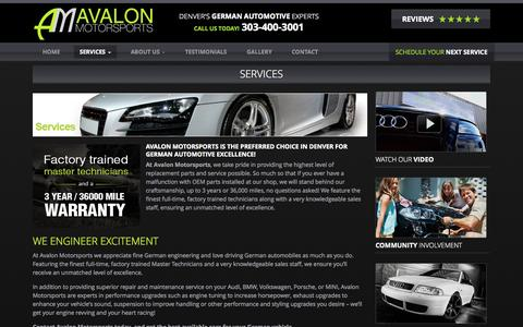 Screenshot of Services Page avalonmotorsports.com - Services - Avalon Motorsports - captured Oct. 29, 2014