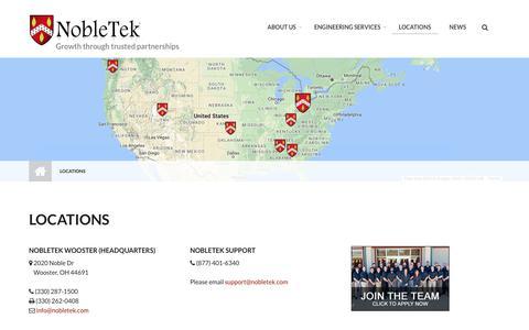 Screenshot of Locations Page nobletek.com - Locations | NobleTek - captured Oct. 18, 2018