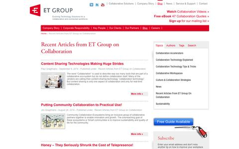 Screenshot of Blog etgroup.ca - Recent Articles from ET Group on Collaboration | Workforce Collaborative Solutions Et Group - captured Sept. 27, 2014