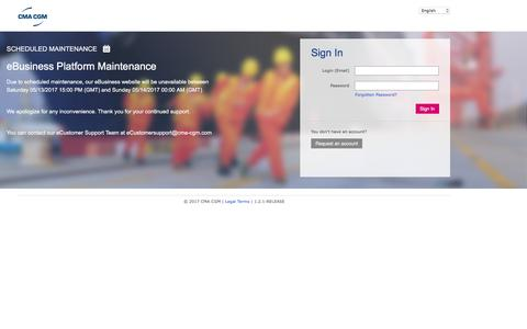 Screenshot of Support Page cma-cgm.com - Sign In - captured May 12, 2017