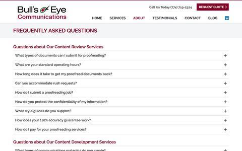 Screenshot of FAQ Page bullseyecommunications.net - Frequently Asked Questions   Bullseye Communications - captured Oct. 11, 2017