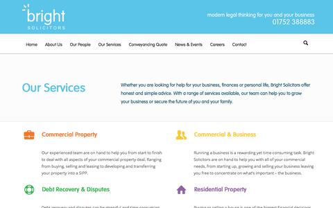 Screenshot of Services Page brightllp.co.uk - Services | Bright Solicitors | Plymouth Commercial Law Firm - captured Oct. 11, 2017
