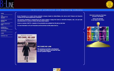 Screenshot of Home Page b-lineproductions.co.uk - Alternative Therapy Videos for a Family Audience - captured Oct. 2, 2014