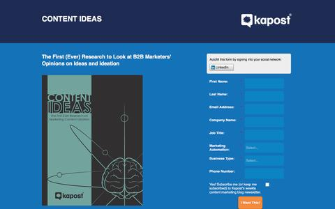 Screenshot of Landing Page kapost.com - Content Ideas New Research - captured March 14, 2016