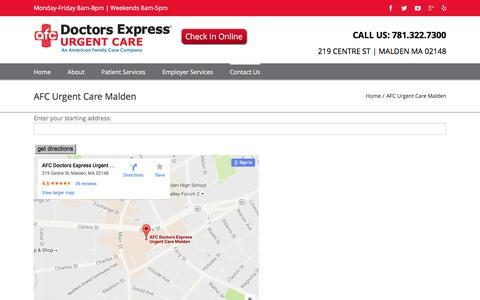 Screenshot of Maps & Directions Page doctorsexpressmalden.com - Directions to our Malden MA Urgent Care   AFC Urgent Care Malden - captured Aug. 2, 2016