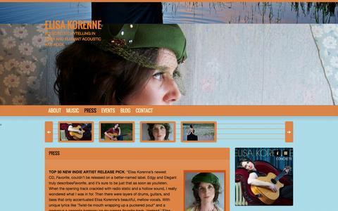 Screenshot of Press Page elisakorenne.com - Elisa Korenne Press Kit   Elisa Korenne - captured Oct. 2, 2014