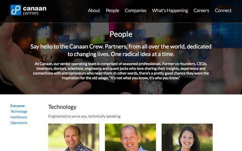 Screenshot of Team Page canaan.com - People  | Canaan - captured Oct. 30, 2014
