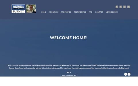 Screenshot of Home Page arirad.com - Ari Rad | Realtor - captured Sept. 1, 2015