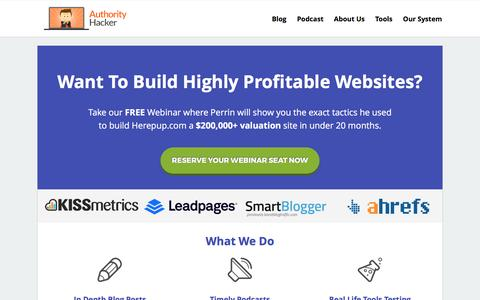 Screenshot of Home Page authorityhacker.com - Authority Hacker - Learn How To Build Highly Profitable Web Properties - captured May 30, 2017