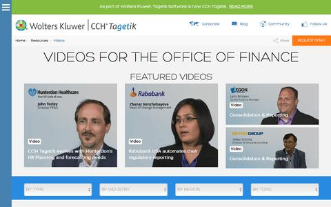 Videos: webinars, demos, customers and more | CCH Tagetik