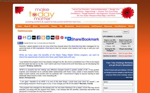 Screenshot of Testimonials Page brooknoel.com - Make Today Matter - What Are People Saying | Make Today Matter - captured Oct. 4, 2014