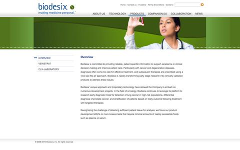 Screenshot of Products Page biodesix.com - Biodesix | Products - Overview - captured Sept. 13, 2014