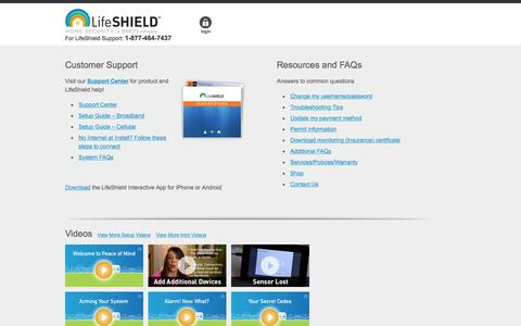 Screenshot of Support Page lifeshield.com - LifeShield Customer Help Section | LifeShield Home Security - captured Nov. 9, 2016