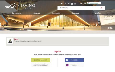Screenshot of Login Page cityofirving.org - Irving, TX - Official Website - captured July 18, 2018
