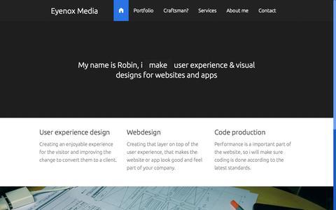 Screenshot of Home Page eyenoxmedia.com - Eyenox Media - freelance User experience designer & Webdesigner - captured Oct. 3, 2014