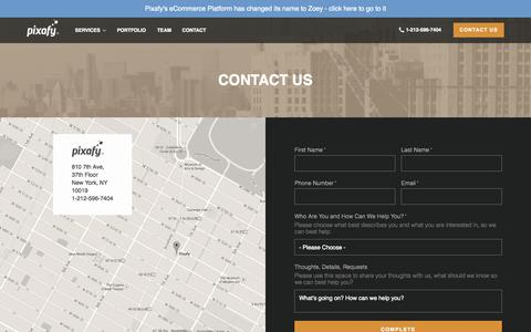 Screenshot of Contact Page pixafy.com - Contact Us - Pixafy : Pixafy - captured Oct. 14, 2015