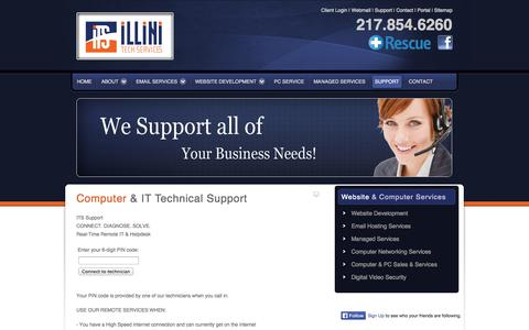 Screenshot of Support Page illinitechs.com - Central Illinois IT Support, Computer Services and Repair in Illinois, Remote Support Technology, Email Support, Exchange Mail Support, Remote IT Support - captured Oct. 6, 2014