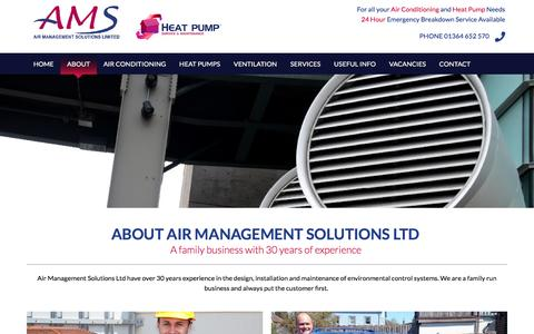 Screenshot of About Page airms.co.uk - About Air Management Solutions Exeter, Air Conditioning systems Devon - captured Nov. 20, 2016