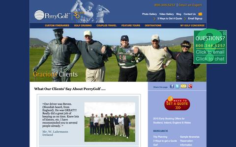 Screenshot of Testimonials Page perrygolf.com - England Golf Vacation | Wales Golf Vacation | Scotland Golf Vacation  | Ireland Golf Vacation  | Perry Golf - captured Sept. 23, 2014