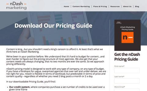 Screenshot of Pricing Page ndashmarketing.com - nDash Marketing - Plans & Pricing - captured Feb. 22, 2016