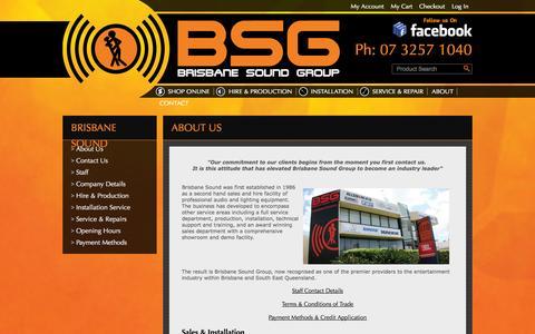 Screenshot of About Page brisound.com.au - About Us  - Brisbane Sound Group - captured Oct. 5, 2014